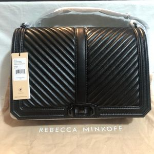 New Rebecca Minkoff Chevron Qul Jumbo Love Crosbdy